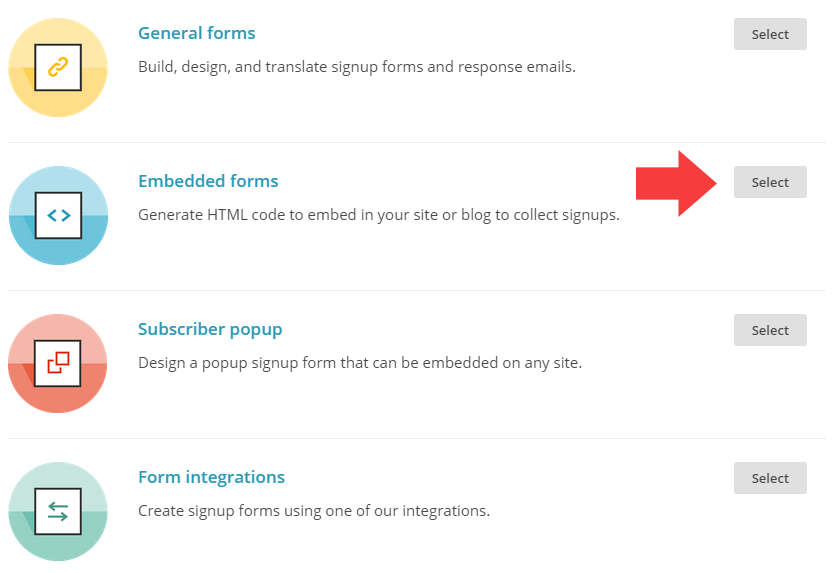 "Four form choices: ""General forms"", ""Embedded forms"", ""Subscriber popup"", and ""Form integrations"". Arrow pointing at ""Embedded forms""."