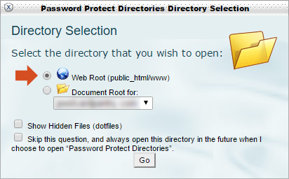 Password Protect Directories - directory selection
