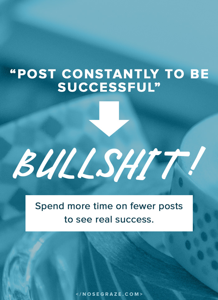 """Post constantly to be successful"" is bullshit. Spend more time on fewer posts to see real success."