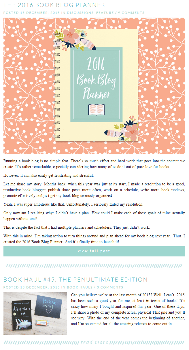 Example of a featured post on Stay Bookish.
