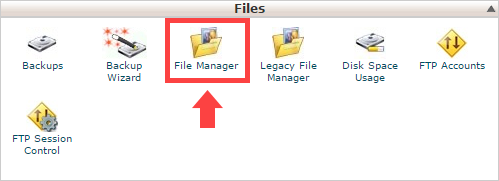 Arrow pointing to the File Manager icon in cPanel