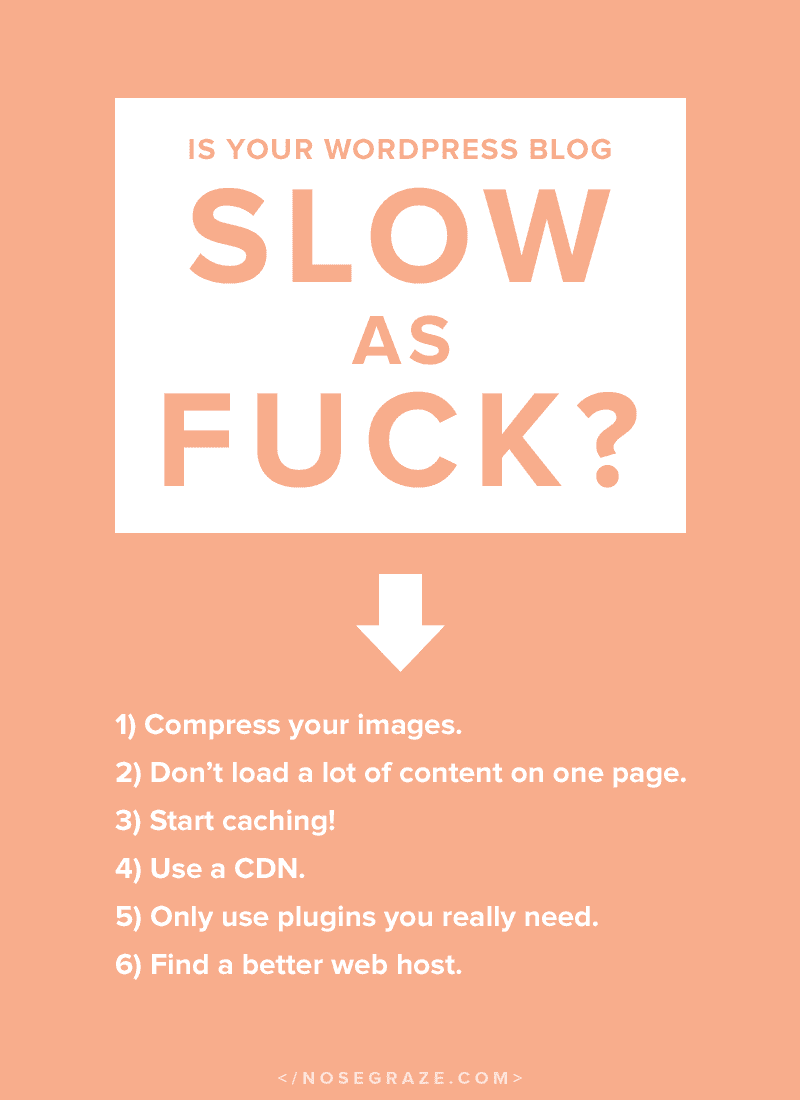 Is your blog slow as fuck? Here's how to make it better: 1) compress your images; 2) don't load a lot of content on one page; 3) start caching; 4) use a CDN; 5) only use plugins you really need; 6) find a better web host.
