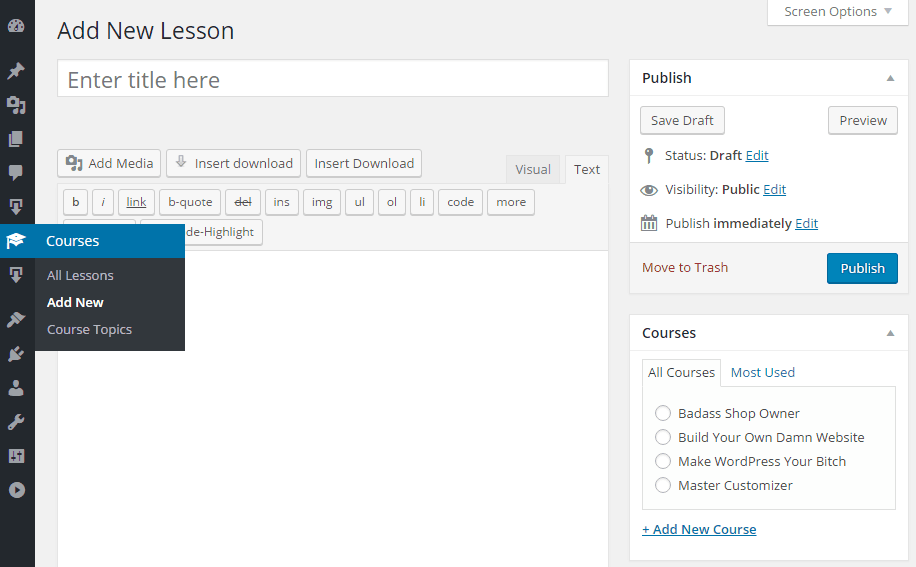 Interface for adding an e-course lesson, similar to adding a post.
