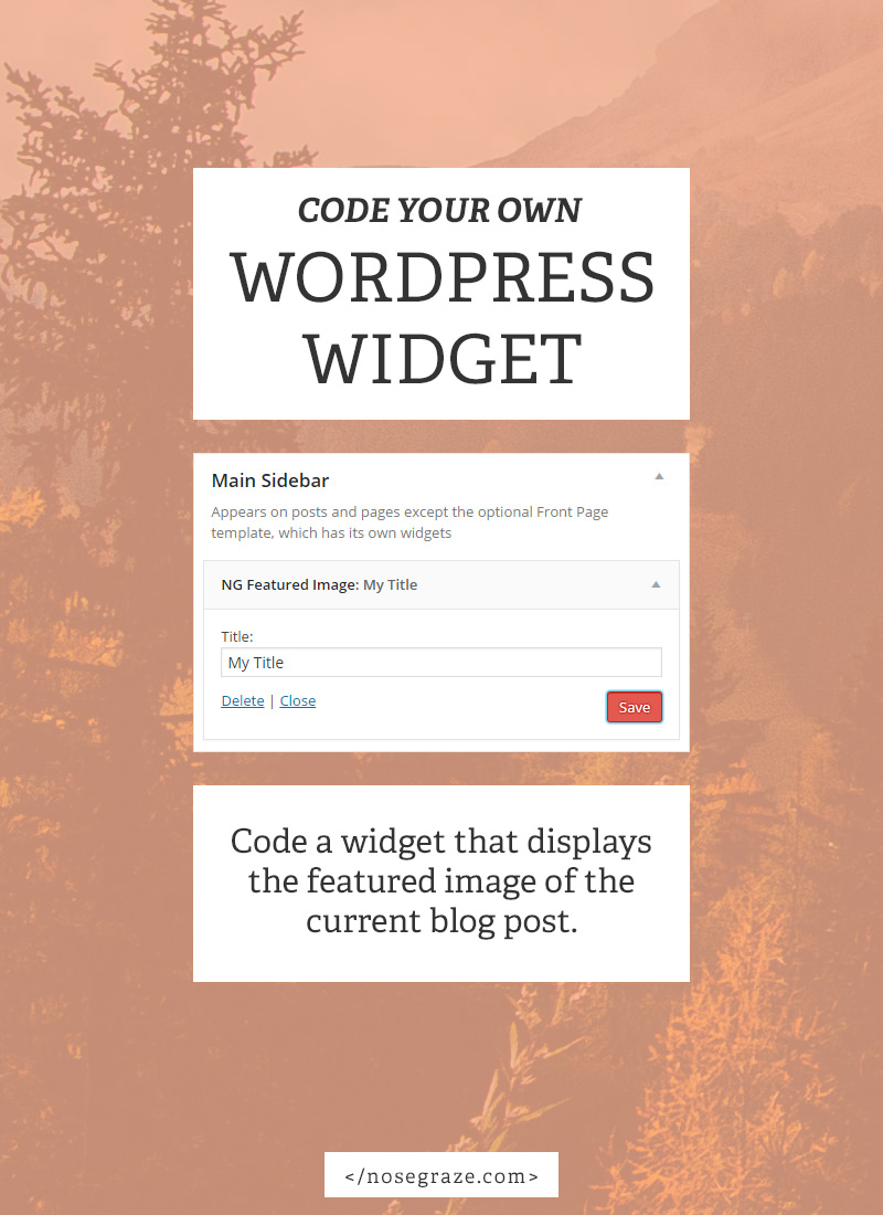 Code your own WordPress widget for displaying the featured image of the current post.