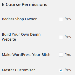 Checkboxes for granting access to e-courses