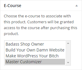Associate a product with an e-course dropdown box