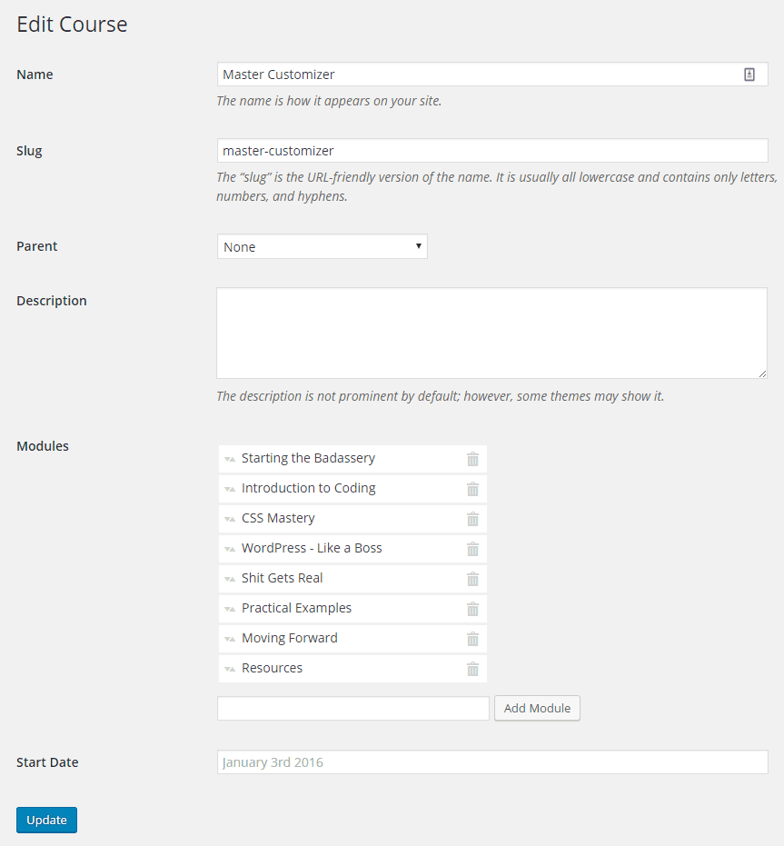 Interface for editing course information.