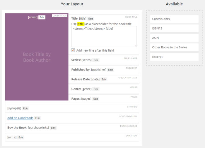 Book layout builder in the Novelist plugin