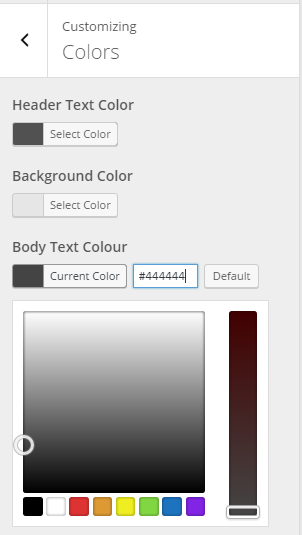 "Colors section in the Customizer with a new setting for ""Body Text Colour"""