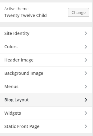 "Customizer section for ""Blog Layout"""