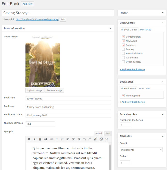 Edit Book page with book information fields