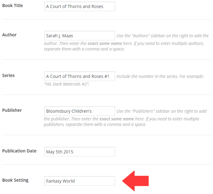 """Text field for """"Book Setting"""""""