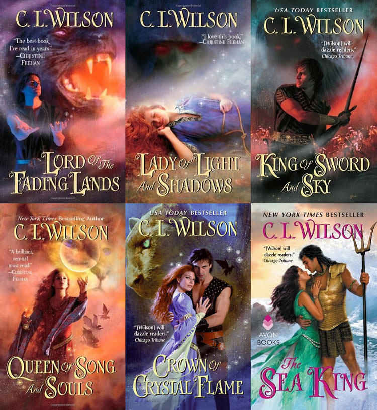 Covers of C.L. Wilson's books (Tairen Soul series and The Sea King)