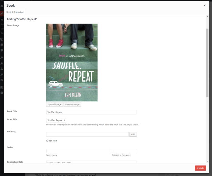 "Book modal with ""Shuffle, Repeat"" loaded in"