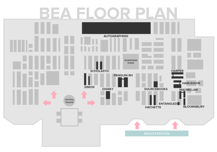 Publisher floorplan for BookExpo America 2017