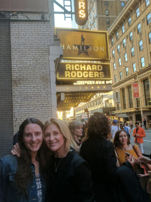 My mom and I outside the theatre to see Hamilton