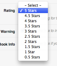 Ultimate Book Blogger Plugin - Select Rating