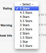 Ultimate Book Blogger Plugin - Select Rating