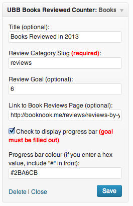 Ultimate Book Blogger Plugin - Books Reviewed Widget - Settings